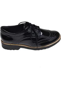 Sapato Feminino Oxford Comfortflex Preto Verniz