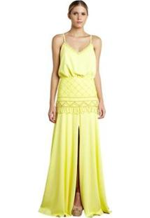 Vestido Longo Izadora Lima Brand Em Crepe Blusado Feminino - Feminino-Amarelo