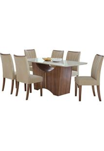 Sala De Jantar Rock 170Cm Com 6 Cadeiras Veludo Naturale Creme