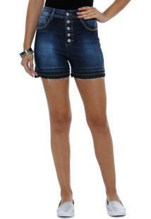 Short Feminino Hot Pants Jeans Strass Marisa