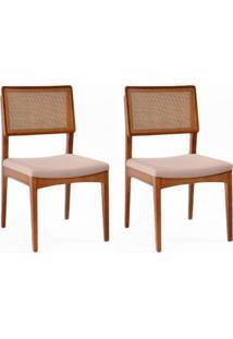 Conjunto De 2 Cadeiras De Jantar Kindon I Tela Castanho E Bege