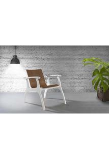 Poltrona Para Sala Com Braços Pés De Madeira - Poltrona Para Quarto - Laca Branco E Amendoa - Calvin - 66X77X67 Cm