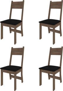 Conjunto Com 4 Cadeiras Luzia Noce E Preto