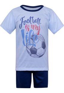 Pijama Menino Infantil Manga Curta Football Luna Cuore
