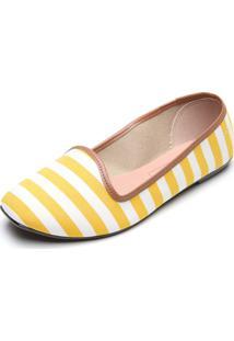 Slipper Moleca Listras Amarela/Branco
