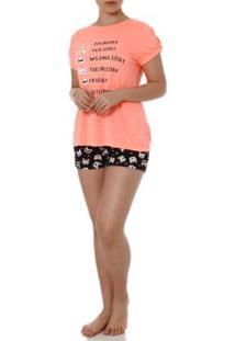 Pijama Curto Dk Feminino - Feminino-Laranja+Preto