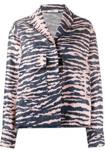 Odeeh Zebra-Print Single Breasted Jacket - Azul
