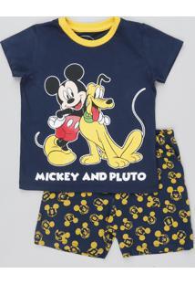 Pijama Infantil Mickey Mouse Manga Curta Azul Marinho