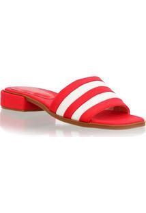 Sandália Rasteira Slider Tecido Vermelho E Branco