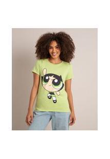 Camiseta De Algodão Manga Curta Decote Redondo Estampa Docinho Verde Claro