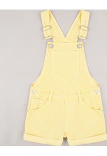Jardineira De Sarja Infantil Com Bolsos Amarela