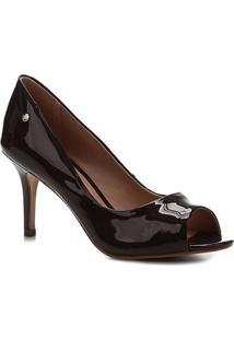 Peep Toe Shoestock Salto Médio Verniz Naked - Feminino-Cacau