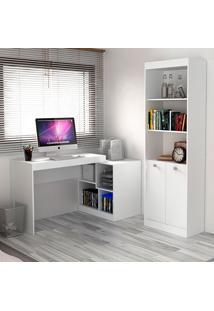 Escrivaninha E Estante Com 2 Portas Para Escritório-Ho-2960-Hecol - Branco