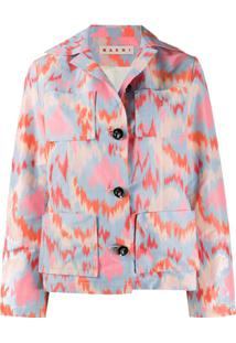Marni Abstract Print Single-Breasted Jacket - Azul