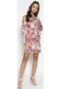 Vestido Floral Com Recortes Vazados & Babados - Bege & Rmoiselle