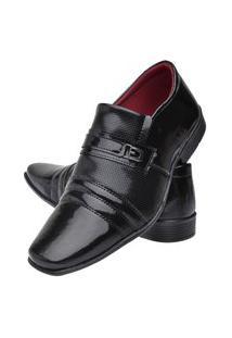Sapato Social Torrenezzi Tradicional Calçar Estampa Diamante - Preto Verniz