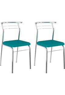 Conjunto 2 Cadeiras Cromada 1708 Turquesa E