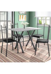 Conjunto De Mesa Miame Com 4 Cadeiras Lisboa Preto