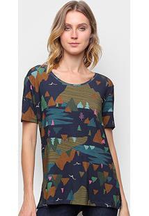 Camiseta T-Shirt Cantão Boyfriend Montanha Feminina - Feminino-Azul Escuro