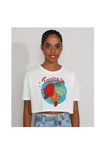 "Camiseta Feminina Cropped ""Tropicaju"" Animal Print Onça Manga Curta Decote Redondo Off White"