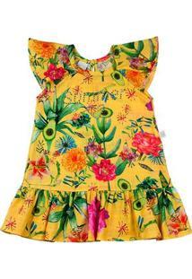 Vestido Infantil Tricoline Estampado Digital Dylan Floral Summer - Amarelo 2
