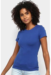 Blusa Malwee Baby Look Básica Feminina - Feminino-Azul