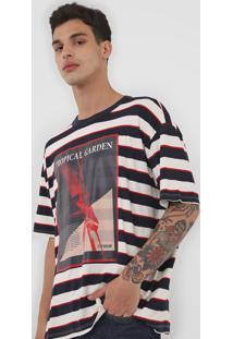 Camiseta Forum Estampada Off-White/Azul-Marinho