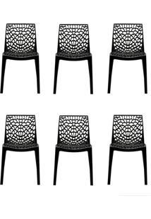 Conjunto De 6 Cadeiras Gruv Preta