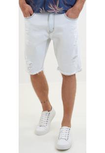 Bermuda John John Classica Albania Jeans Branco Masculina (Jeans Claro, 46)