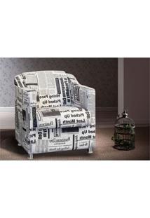 Kit 02 Poltronas Decorativa Para Sala E Escritório Tilla Tecido Jornal