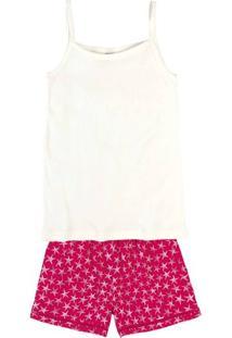 Pijama Feminino Com Shorts Estampado Em Tecido De Viscose
