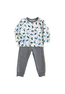 Pijama Moletom Colorê Infantil Longo Estampado Dino