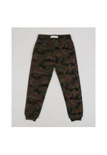 Calça De Moletom Infantil Estampada Camuflada Com Bolsos Verde Militar
