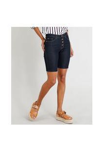 Bermuda Jeans Feminina Ciclista Com Botões Azul Escuro
