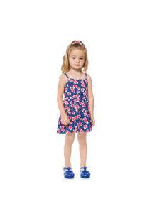 Vestido Primeiros Passos Abrange Corações Azul Abrange Casual Azul