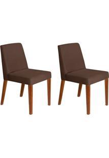 Conjunto Com 2 Cadeiras Infinity Veludo Chocolate