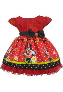 Vestido De Festa Temático Minnie Vermelha 1 Ao 3