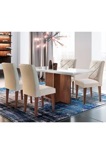 Conjunto De Mesa Com 4 Cadeiras Berlim-Rufato - Veludo Creme / Off White / Café