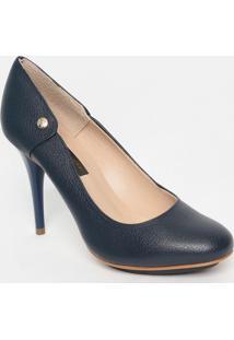 Sapato Em Couro- Azul Marinho- Salto: 7Cmjorge Bischoff