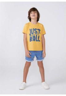 Bermuda Jeans Infantil Menino Com Elastano Azul