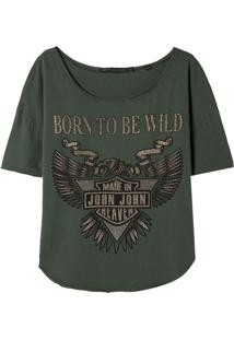 Camiseta John John Born Wild Malha Verde Feminina (Verde Medio, P)