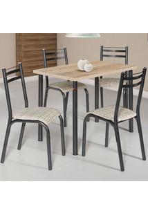 Conjunto De Mesa Com 4 Cadeiras - Plaza - Ciplafe - Junco Manteiga