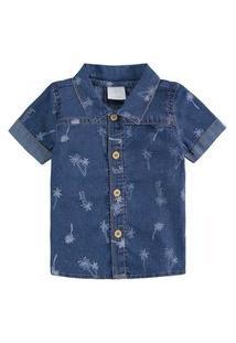 Camisa Luc Boo Jeans Manga Curta E Estampada Menino Azul