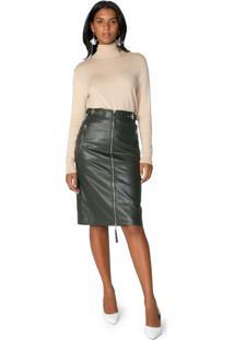 Saia Midi Leather Zíper