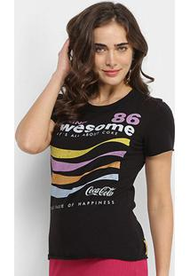 Camiseta Coca-Cola Feeling Awesome Feminina - Feminino-Preto