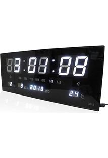 ca705a6e8db Relogio Parede Led Digital Branco Alarme Termometro Calendario (Rel-57)