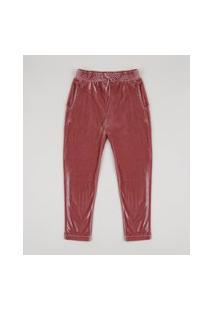 Calça De Veludo Infantil Com Bolsos Rosa