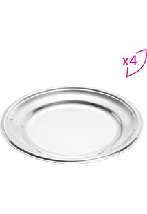 Jogo De Pratos Para Sobremesa Elegance- Inox- 4Pã§S