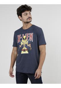 Camiseta Masculina Wolverine X-Men Manga Curta Gola Careca Azul Marinho