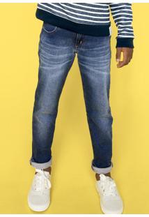 Calça Jeans Infantil Menino Em Moletom Jeans Hering Kids